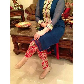 f784d6af8f Buy Cigarette Pants Embroided Pakistani Suit by Adaa Shopping Online ...