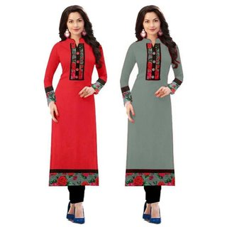Rise On Fab Designer Red And Grey Color indo cotton semi Stitched Printed Combo Kurti (RED+GREY)