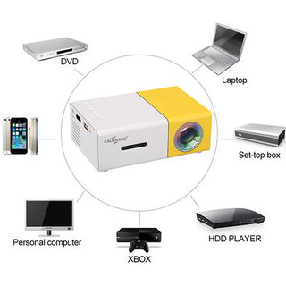 Callmate LED Mini Projector The Most Cost-efficient High Resolution LED Projector- White