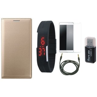 Samsung J7 Prime ( SM G610F ) Cover with Memory Card Reader, Free Digital LED Watch, Tempered Glass and AUX Cable