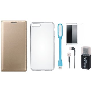 Samsung J7 Prime ( SM G610F ) Cover with Memory Card Reader, Silicon Back Cover, Tempered Glass, Earphones and USB LED Light