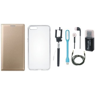 Oppo A71 Flip Cover with Memory Card Reader, Silicon Back Cover, Selfie Stick, Earphones, USB LED Light and AUX Cable