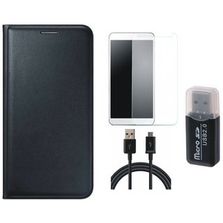 Oppo A71 Premium Leather Cover with Memory Card Reader, Tempered Glass and USB Cable