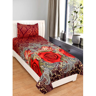 Shivaay Home Creations 3D Printed Polycotton Single Bedsheet With One Pillow Cover- 60 x 90, Multicolour-Floral