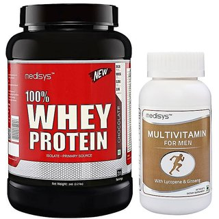 Medisys 100 Whey Protein - Chocolate - 1kg Free-Multivitamin