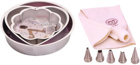 NOOR COMBO OF ICING BAG WITH 5 NOZZLES AND SET OF FLOWER , HEART AND ROUND SHAPE CAKE MOULDS