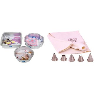 NOOR COMBO OF ICING BAG WITH 5 NOZZLES AND SET OF FLOWER  SQUARE AND ROUND SHAPE CAKE MOULDS