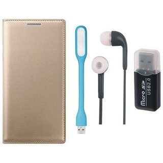 Samsung J7 Prime ( SM G610F ) Leather Cover with Memory Card Reader, Earphones and USB LED Light