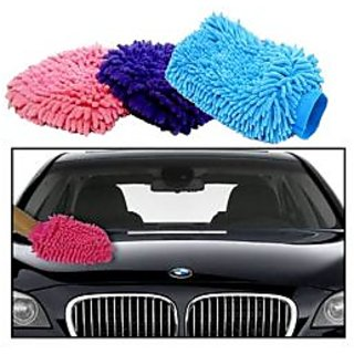 Set of 3 Microfiber Glove for Car Cleaning Washing
