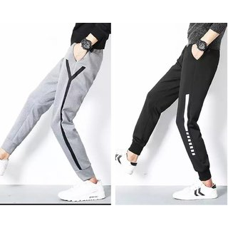 Trendyz Grey And Black Cotton Blend Stylish Track Pants (Pack of 2)