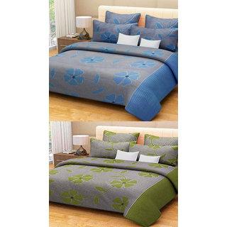 Shree jee  2 pcs Poly cotton Double Bedsheet & 4 Pcs Pillow Covers  (90X100 inch) & Multicolor