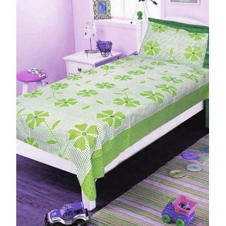 Shree jee 1 pcs Cotton Single Bedsheet with 1 Pillow Cover (60X90 inch) Green color