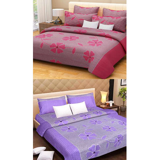 Shree jee  2 pcs Poly cotton Double Bedsheet & 4 Pcs Pillow Covers  (90X100 inch) & Multicolor