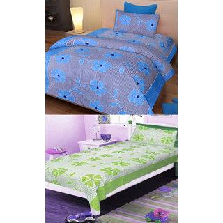Shree jee 2 pcs Poly cotton single  Bedsheet & 2 Pcs Pillow Covers  (60X90 inch) & Multicolor