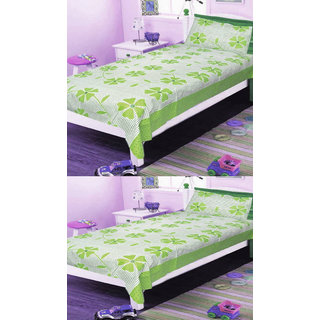 Shree jee  2 pcs Poly cotton single  Bedsheet & 2 Pcs Pillow Covers  (60X90 inch) & Green color