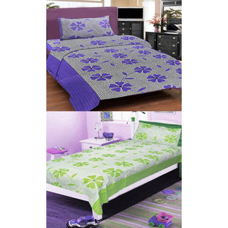 Shree jee  2 pcs Poly cotton single Bedsheet & 2 Pcs Pillow Covers  (60X90 inch) & Multicolor