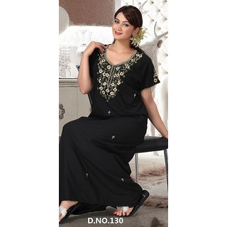 ec3ff57048 Shop 130 Black Nighty Cotton Embroidered on Neck New Night Gown Womens Maxi  Bed Slip Online - Shopclues