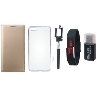 Oppo A71 Leather Cover with Memory Card Reader, Silicon Back Cover, Selfie Stick and Digtal Watch