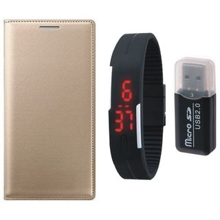 Samsung J7 Prime ( SM G610F ) Stylish Cover with Memory Card Reader, Digital Watch