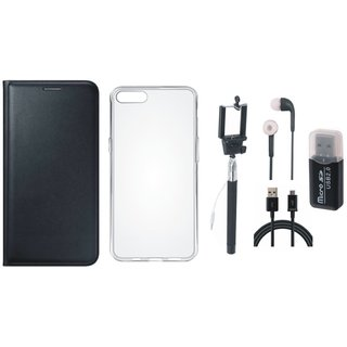 Vivo Y69 Premium Leather Cover with Memory Card Reader, Silicon Back Cover, Selfie Stick, Earphones and USB Cable