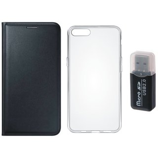 Vivo Y69 Premium Leather Cover with Memory Card Reader, Silicon Back Cover, Free Silicon Back Cover
