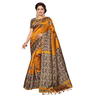 Swaron Women's Yellow and Multi Colored Poly Silk Printed Casual Wear Saree