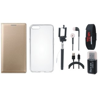Vivo Y69 Leather Flip Cover with with Memory Card Reader, Silicon Back Cover, Selfie Stick, Digtal Watch, Earphones and USB Cable