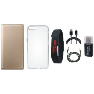 Oppo A71 Premium Leather Cover with Memory Card Reader, Silicon Back Cover, Digital Watch, USB Cable and AUX Cable