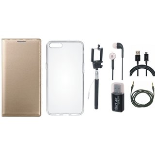 Vivo Y69 Leather Flip Cover with with Memory Card Reader, Silicon Back Cover, Selfie Stick, Earphones, USB Cable and AUX Cable