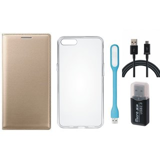 Oppo A71 Premium Leather Cover with Memory Card Reader, Silicon Back Cover, USB LED Light and USB Cable