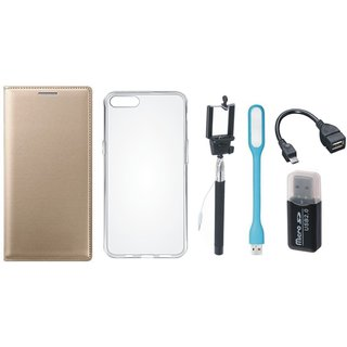 Vivo Y69 Leather Flip Cover with with Memory Card Reader, Silicon Back Cover, Selfie Stick, LED Light and OTG Cable
