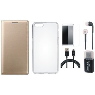 Oppo A71 Premium Leather Cover with Memory Card Reader, Silicon Back Cover, Tempered Glass, Earphones and USB Cable