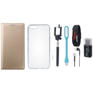 Oppo A71 Premium Leather Cover with Memory Card Reader, Silicon Back Cover, Selfie Stick, Digtal Watch, Earphones and USB LED Light