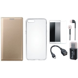 Vivo Y69 Leather Flip Cover with with Memory Card Reader, Silicon Back Cover, Tempered Glass, Earphones and OTG Cable