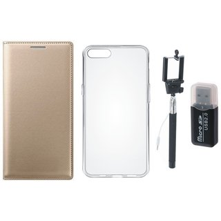 Oppo A71 Premium Leather Cover with Memory Card Reader, Silicon Back Cover, Free Silicon Back Cover and Selfie Stick