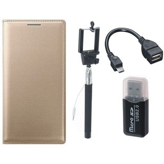 Oppo A71 Premium Leather Cover with Memory Card Reader, Selfie Stick and OTG Cable