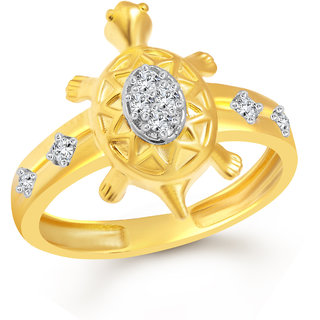 Vighnaharta Divine Turtle CZ Gold and Rhodium Plated Alloy Gents Ring for Men & Boys