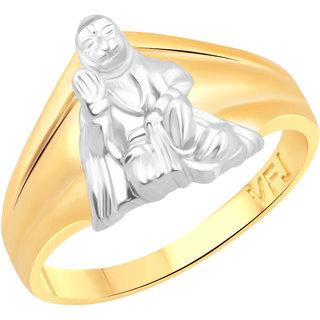 Vighnaharta Lord Hanuman Gold and Rhodium Plated Alloy Gents Ring for Men & Boys