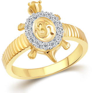 Vighnaharta Om Tortoise CZ Gold and Rhodium Plated Alloy Gents Ring for Men & Boys