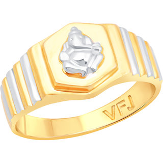 Vighnaharta Shri Mangalmurti Gold and Rhodium Plated Alloy Gents Ring for Men & Boys