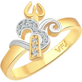 Vighnaharta Trishul Om CZ Gold and Rhodium Plated Alloy Gents Ring for Men & Boys