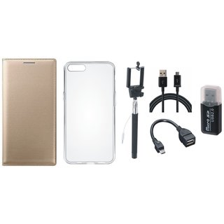 Vivo Y69 Leather Cover with Memory Card Reader, Silicon Back Cover, Selfie Stick, OTG Cable and USB Cable