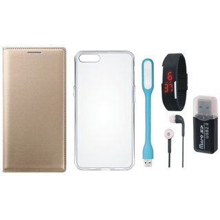 Vivo Y69 Leather Cover with Memory Card Reader, Silicon Back Cover, Digital Watch, Earphones and USB LED Light