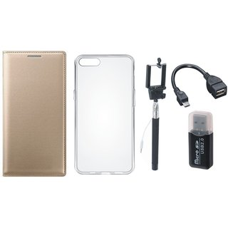 Vivo Y69 Leather Cover with Memory Card Reader, Silicon Back Cover, Selfie Stick and OTG Cable