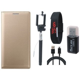 Vivo Y69 Leather Cover with Memory Card Reader, Selfie Stick, Digtal Watch and USB Cable