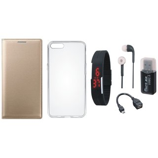 Vivo Y69 Leather Cover with Memory Card Reader, Silicon Back Cover, Digital Watch, Earphones and OTG Cable