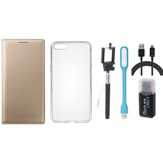 Vivo Y69 Leather Cover with Memory Card Reader, Silicon Back Cover, Selfie Stick, USB LED Light and USB Cable