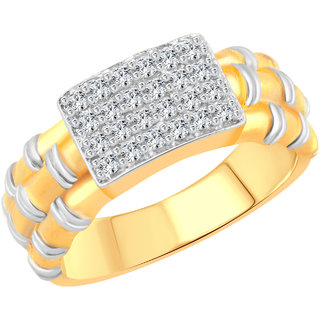 Vighnaharta Wooden Style CZ Gold and Rhodium Plated Alloy Gents Ring for Men & Boys