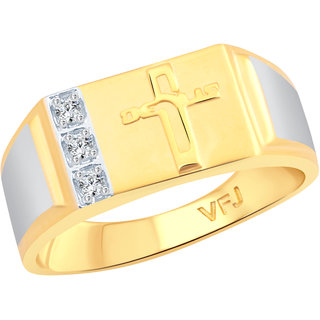 Vighnaharta Lord Jesus CZ Gold and Rhodium Plated Alloy Gents Ring for Men & Boys