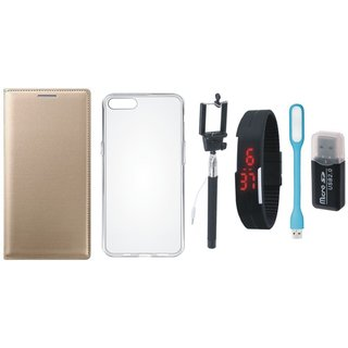 Vivo Y69 Leather Cover with Memory Card Reader, Silicon Back Cover, Selfie Stick, Digtal Watch and USB LED Light